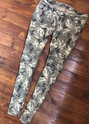 Штаны джинсы камуфляжные  с коленями