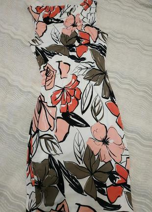 Шелковое платье классика 100% вскоза в крупные цветы 100% вискоза 14-16р.autograph