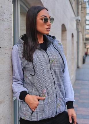 Женская утепленная джинсовая куртка на синтепоне + трикотаж трехнитка с начесом (427)