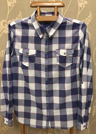 Нереально красивая и стильная брендовая рубашка в клетку..100% коттон.