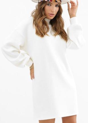 Классное теплое белое платье