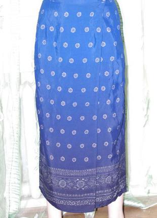 Летняя юбка фасон запах арнамент р. 10 вискоза- marks spencer