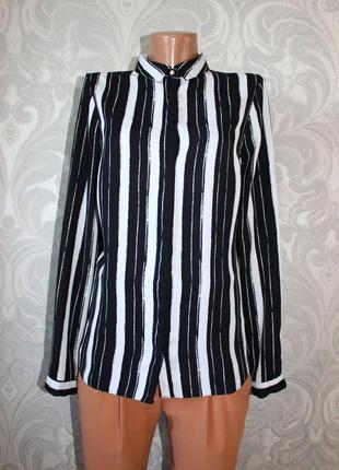 Блуза рубашка в крупную полоску с длинным рукавом. актуально! стильно!