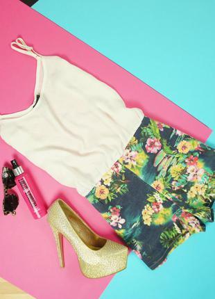 Стильный женственный ромпер,комбинезон с шифоновым верхом и цветными шортиками! missgui
