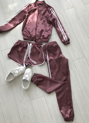 Атласный спортивный костюм тройка шоколад