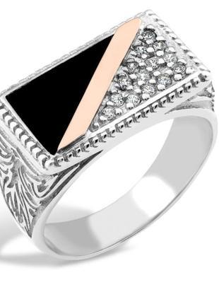 Серебряный перстень, печатка, кольцо с черным ониксом, чернение, 925