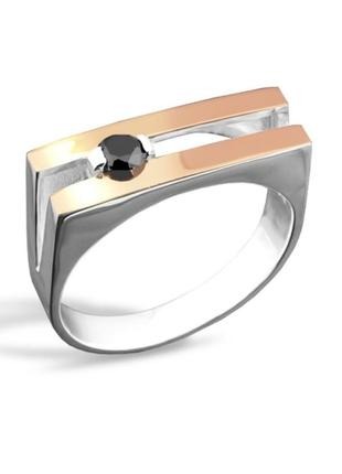 Мужская печатка, перстень, кольцо с фианитом, 925, родирование