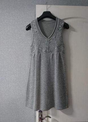 Теплое платье - сарафан со стразами