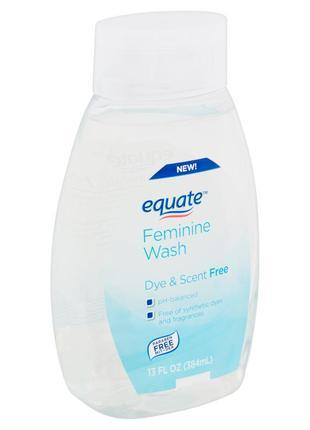 Гель для интимной гигиены без запаха equate feminine wash, dye & scent free, сша, 384мл