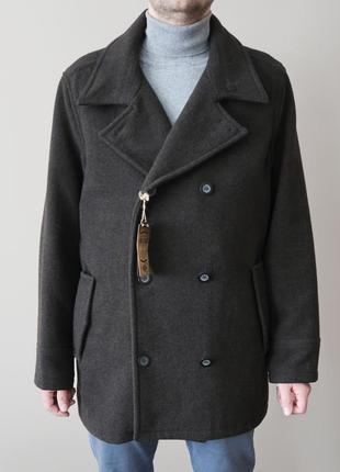 Шерстяное мужское пальто / пальто бушлат / нове чоловіче двобортне шерстяне пальто