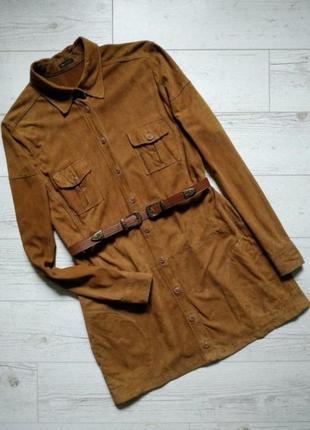 Фирменная рубашка,туника платье из натуральной замши(р.12)