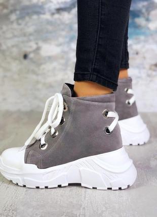 ❤ женские серые замшевые осенние демисезонные ботинки ботильоны ❤