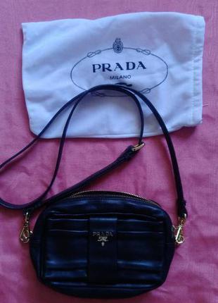 Брендовая кожаная сумка, клатч, кроссбоди, prada