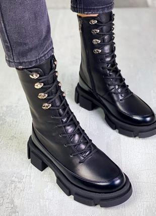 36-40 ботинки на шнуровке кожаные стильные цвет чёрный  тренд сезона