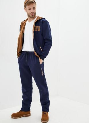 Мужской теплый трикотажный костюм со вставками из замши (502св-син)