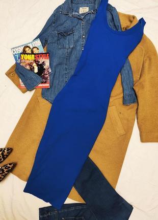 Cos платье резинка миди длинное синее электрик карандаш футляр по фигуре