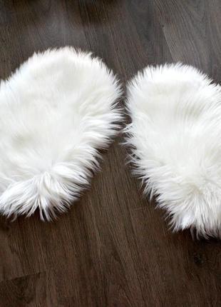 Меховые мини коврики в форме сердечка, набор 2 коврика. 40*30 см