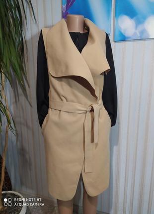 Абалденная жилетка кашемир с карманами халатом