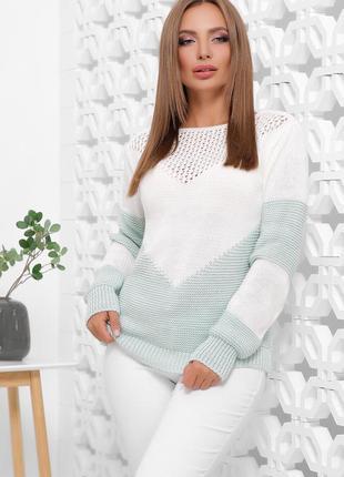 Теплый трендовый джемпер свитер шерсть 50% пудровый синий белый мятный коричневый розовый