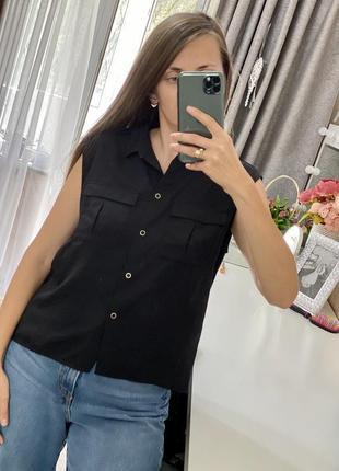 Новая свободная блуза с накладными карманами h&m
