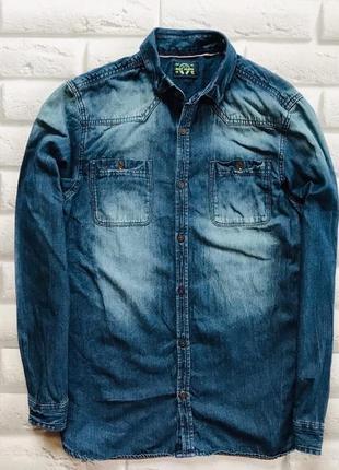 Next стильная джинсовая рубашка на мальчика 15 лет