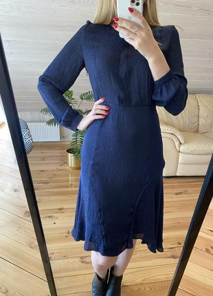 Струящее темно-синее платье h&m