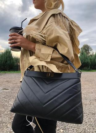 Женская кожаная сумка чёрная клатч италия стёганая с длинной ручкой італія жіноча