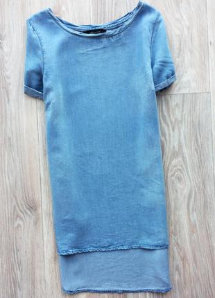 Крутая легкая джинсовая блуза удлиненная сзади new look