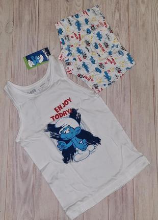 Комплект белья смурфики, майка и трусы боксеры lupilu мальчику 2-4 года