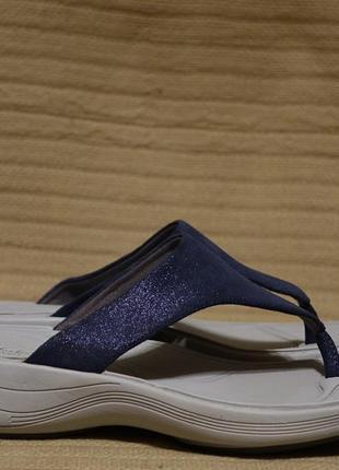 Фирменные кожаные шлепанцы темно-синего цвета clarks wavewolk англия 6 d