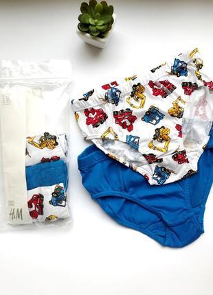 Набор 5 шт. трусиков брифов h&m - синие/с машинками мальчику 4-6 лет