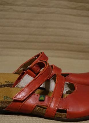 Отменные красные кожаные фирменные шлепанцы - сабо el naturalista испания 37 р.