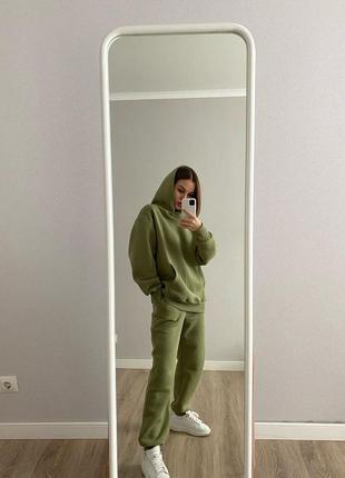 Женский спортивный костюм теплый прогулочный оверсайз осень флис трехнитка мягкий размер s