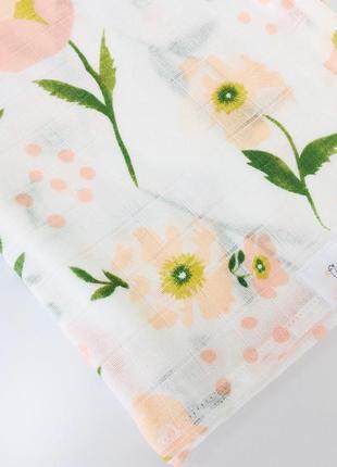Пелёнка муслиновая двуслойная 120*100 цветочный принтер