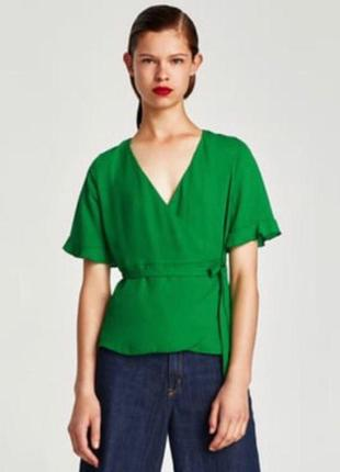 Зеленая блуза на запах zara