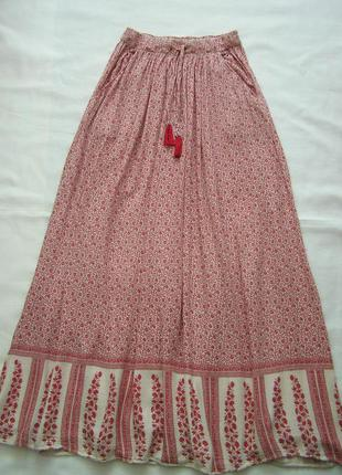 Длинная юбка в пол штапель с карманами талия на резинке 34-36  x/s zara