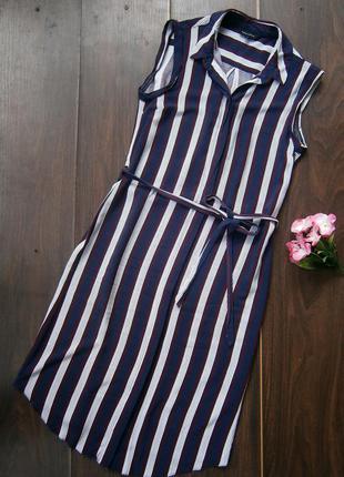 Платье-рубашка в полоску с пояском
