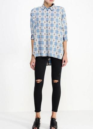 Оверсайз рубашка в принт с карманами topshop