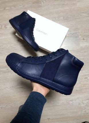 Ботинки кожаные calvin klein оригинал мужские кеды кроссовки синие