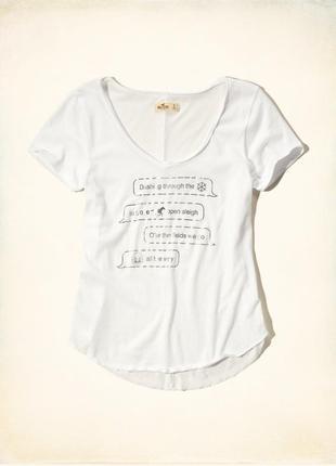 Hollister м футболка оригинал холлистер принт смс белая v - образный вырез