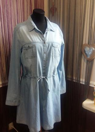 Красивое голубое летнее джинсовое платье clockhouse