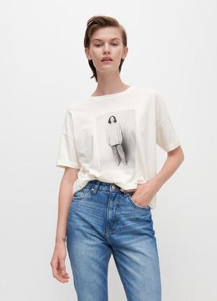 Xs/s/м/xl фирменная новая женская базовая футболка с стильным принтом  reserved