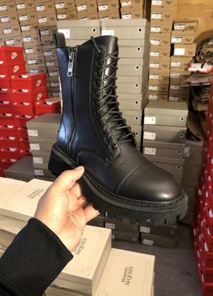 Женские кожаные осенние 🍂 ботинки/сапоги/ботильоны balenciaga tractor черного цвета 😍