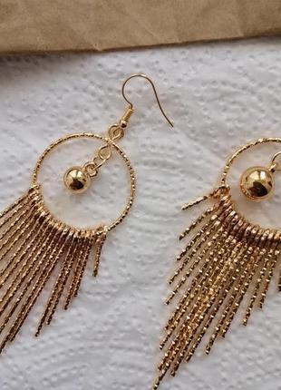Вечерние серьги висячие кольца золотые модные серьги