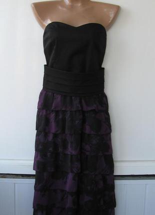 Платье бандо бюстье корсет, юбка воланы из шифона