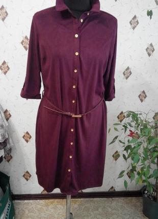 Платье рубашка под замш цвет марсала