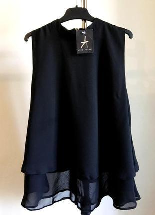 Блуза майка черная atmosphere шифоновая с подкладкой на молнии сзади новая с биркой