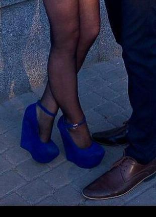 Суперові сині туфлі на платформі