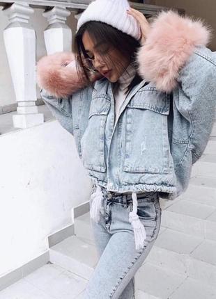 Джинсовая куртка парка на меху