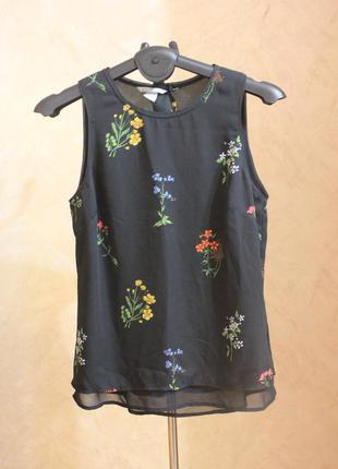Красивая шифоновая блуза с цветами h&m